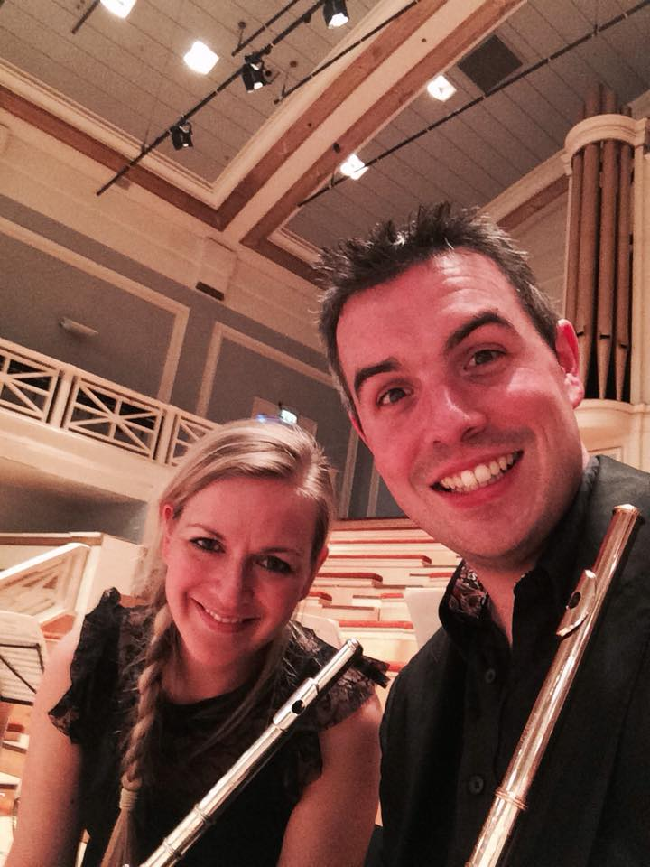 With my wife Abbie Burrows for a Marylebone Camerata gig in Leicester's DeMontford Hall