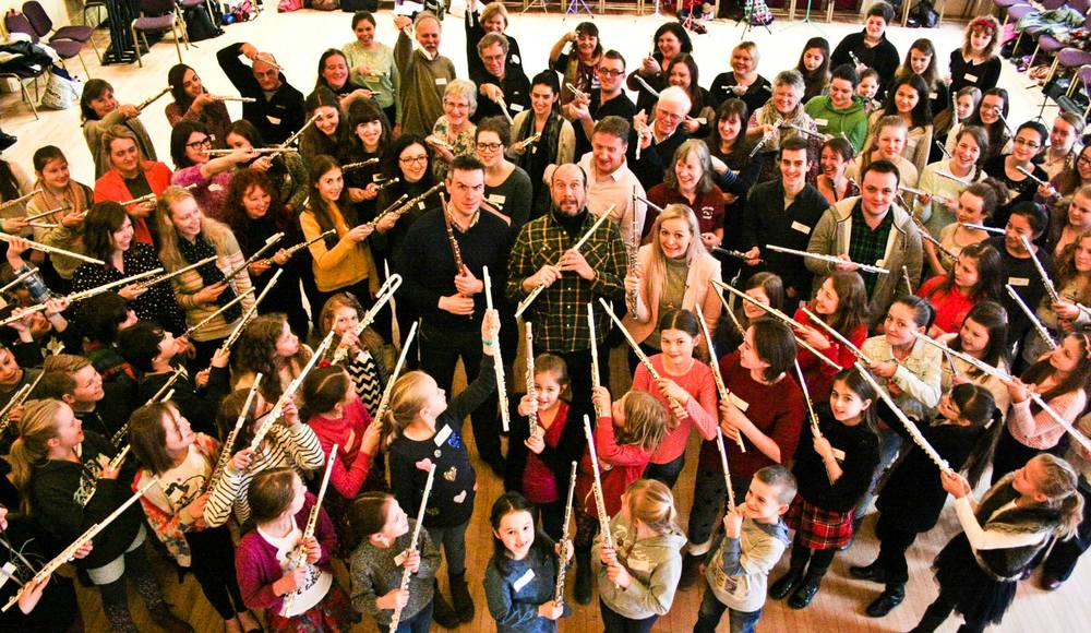 A Flute Day with Abbie Burrows and Wissam Boustany - a hundred people attended!