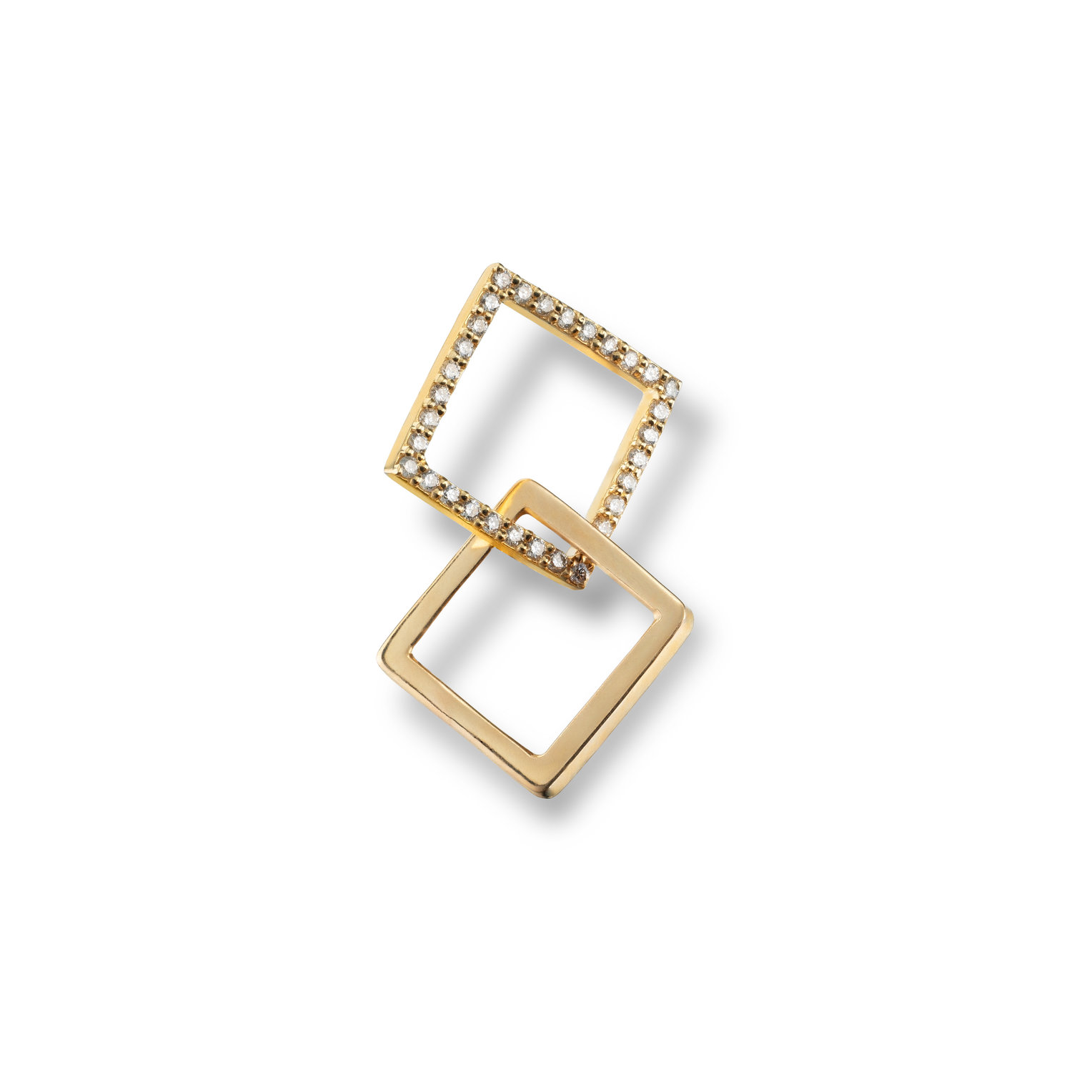 Single Puzzle Earring w Small Diamond Yellow Gold Square and Small