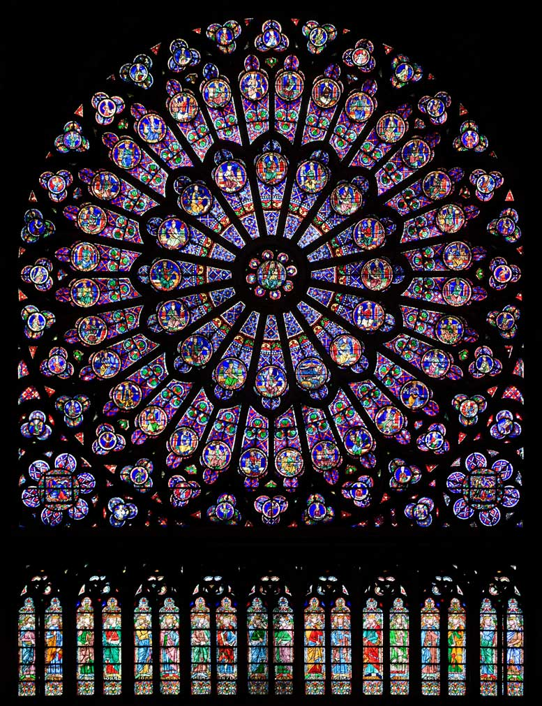 North Rose Window of Cathédrale Notre-Dame de Paris. The stained glass of the oldest gothic cathedrals was believed by the alchemists of the Parisian alchemical revival to have been coloured using esoteric methods lost to the modern world. Between 1913 and 1932, Schwaller and Champagne worked exclusively on achieving these mysterious blues and reds. Their efforts pivoted firstly on the animation and isolation of the volatile spirit of metals, and secondly on marrying this sulphuric lustre to a body of molten glass. Panoramic photograph, Julie Anne Workman, 2010.