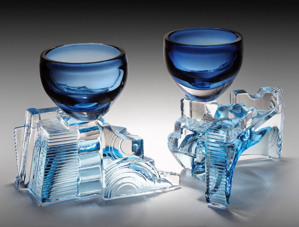 ICE HOUSE CHALICE SET,  each approx. 7 x 5 x 6 inches