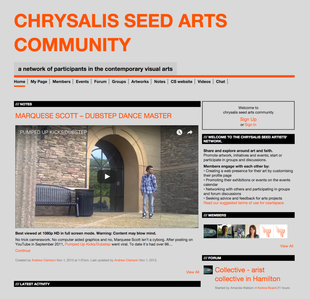 Chrysalis Seed Arts Community – Social Network