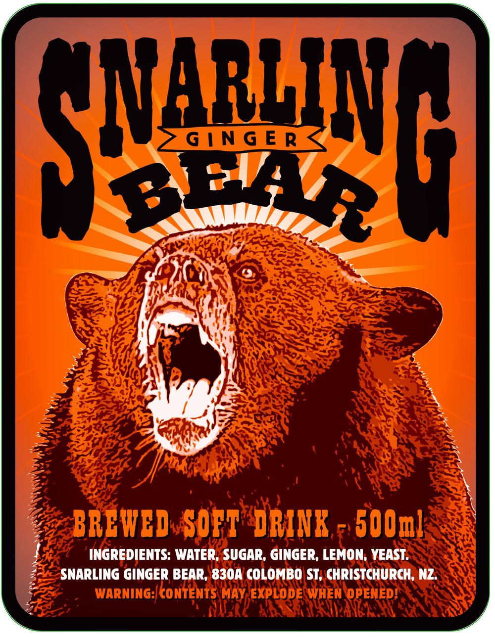 Snarling Ginger Bear – Label design