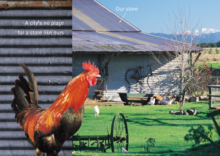 The Tin Shed – brochure highlights a fashion retailer's unique positioning advantage: location.