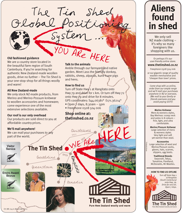 The Tin Shed – print ads in AA Travel Guide and NZ Gardener magazine.