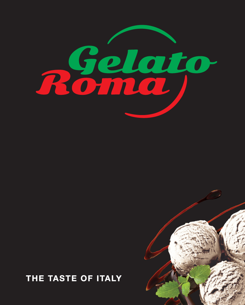 Gelato Roma – Street sign (black).
