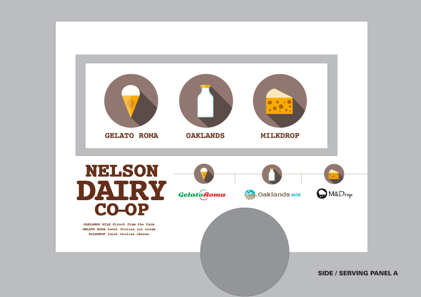 Nelson Dairy Co-Op trailer branding – Oaklands (milk), Gelato Roma (ice cream) and Milkdrop (cheese). Selling product and building awareness at local outdoor markets.
