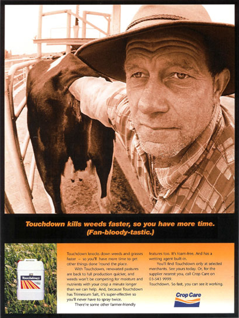 Crop Care – Magazine ad campaign for various brands under the Crop Care banner. 1 of 3. Yep, the farmer really did have his hand up the cow's butt!