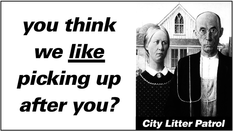 """Christchurch City Council – Anti-Litter campaign aimed at adolescent offenders. Rubbish truck graphics 7 of 7. """"You think we like picking up after you?"""""""