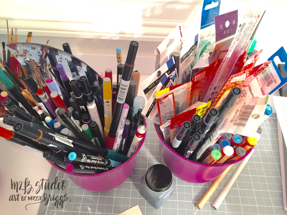 Brush marker stockpile