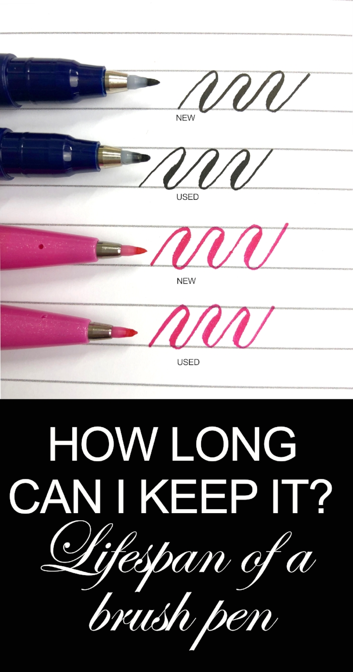 You don't need to toss old brush pens. As long as they have ink, simply adjust your pressure for a tip that has become more flexible.