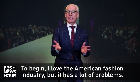 Tim Gunn on PBS Newshour, screenshot from Facebook