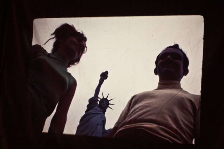 My Cuban immigrant grandparents in New York City, on family vacation sometime around 1970, visiting Lady Liberty