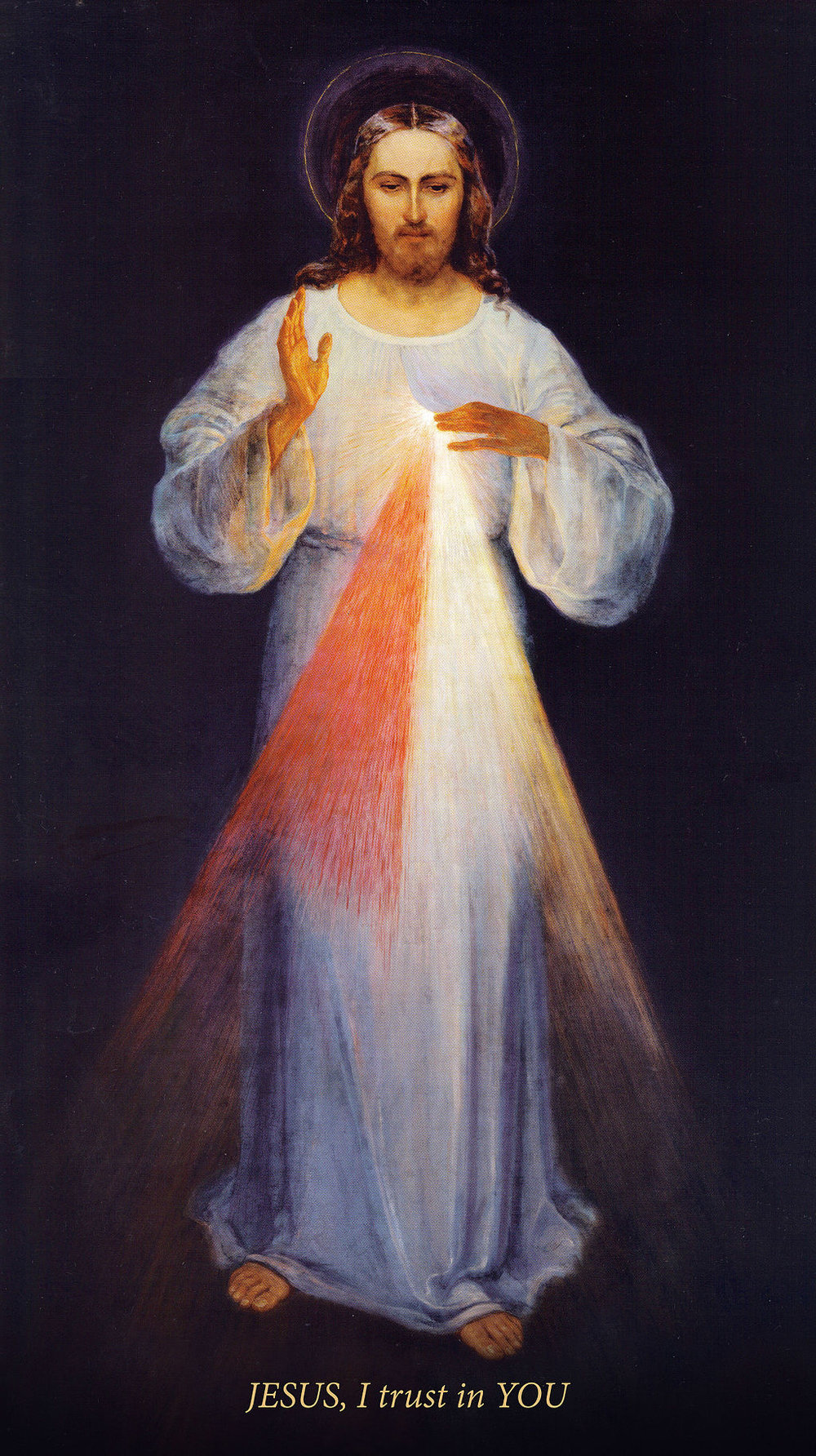 Original painting of the Divine Mercy (by Eugeniusz Kazimirowski in 1934). St. Faustina was not satisfied with the image, but Jesus assured her that it was not the beauty of the painting that would change hearts but the beauty of his grace.