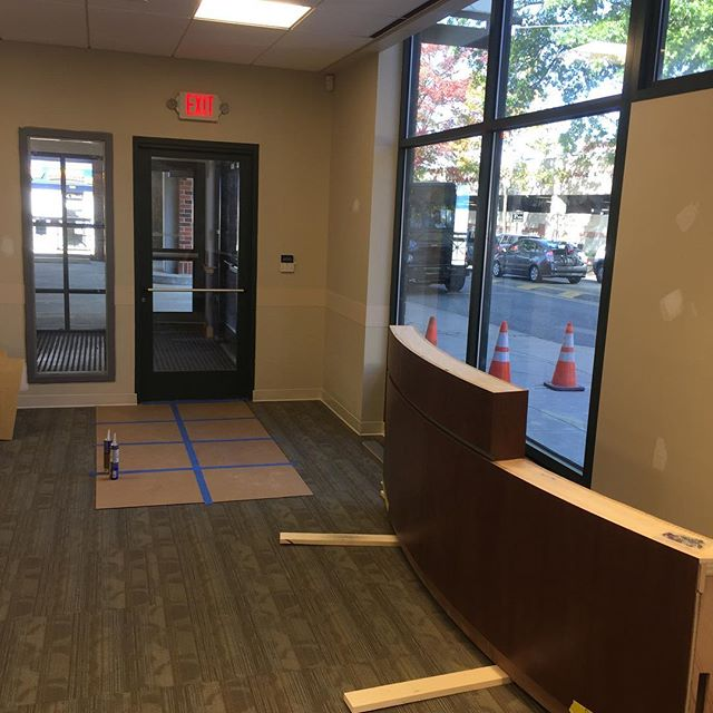 Progress on Main Line Health fit out in Media,PA.  Flooring, lockers, and mill work being completed this week.