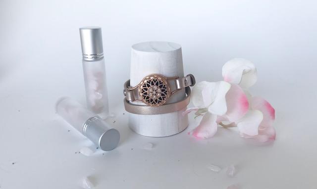 BRILLIANCE ROSE GOLD locket essential oil wrap bracelet