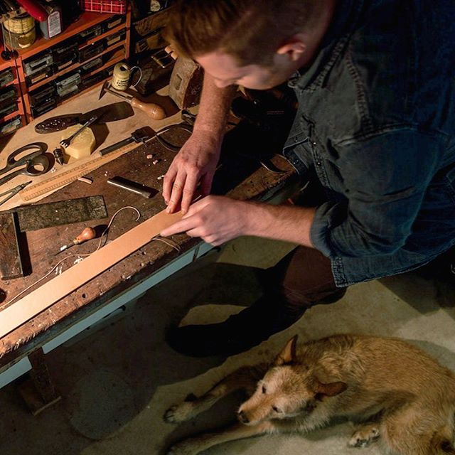 Sunday session in the studio finalising custom orders with Flick! There's nothing quite like handcrafting a belt we know will be loved for a lifetime. Log-on to www.cashlennox.com to find out more about our beautiful belts! #cashlennox #workingdog