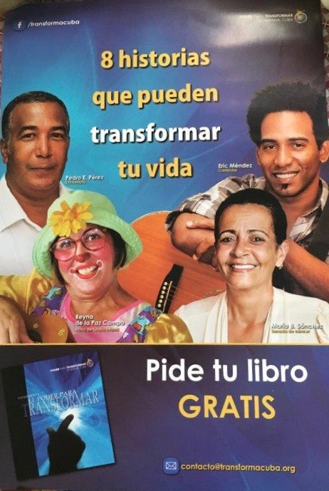 """Eight stories that can transform your life""  Promotion for the Power To Transform book in Havana."