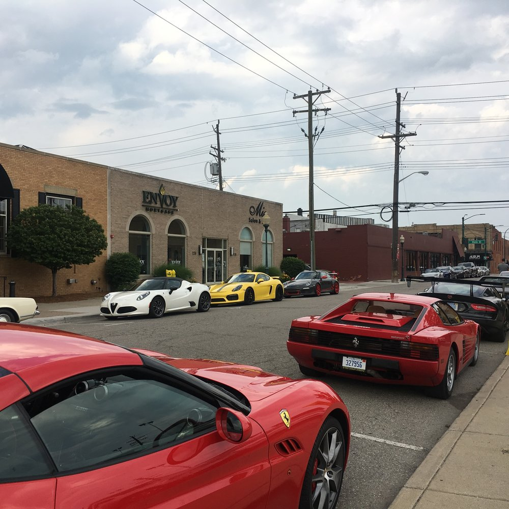 Mini Car Show thanks to Platinum Motorcars of Birmingham, the local Ferrari Club, and Ralph & Doris Gilles!