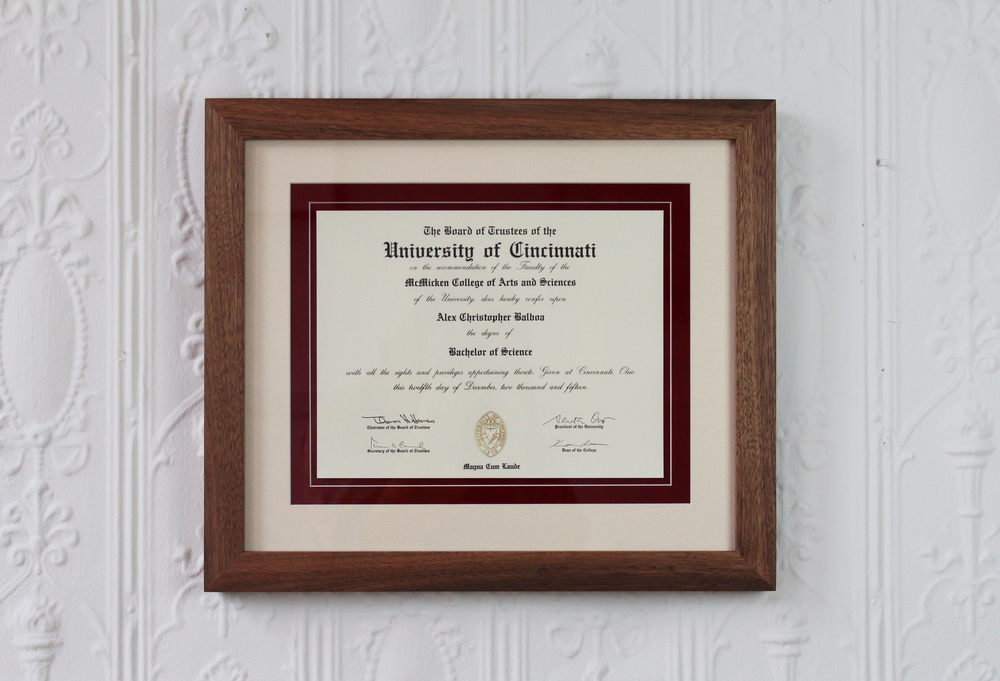 DIPLOMAS FRAMED BETTER  WALNUT FRAME  WHITE AND DEEP SUEDE MATTES