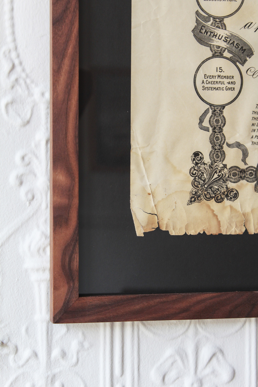 WAVY WALNUT FRAME  ARTWORK FLOATED ON BLACK MATTE TO SHOWCASE THE ROUGH EDGE AND AGE