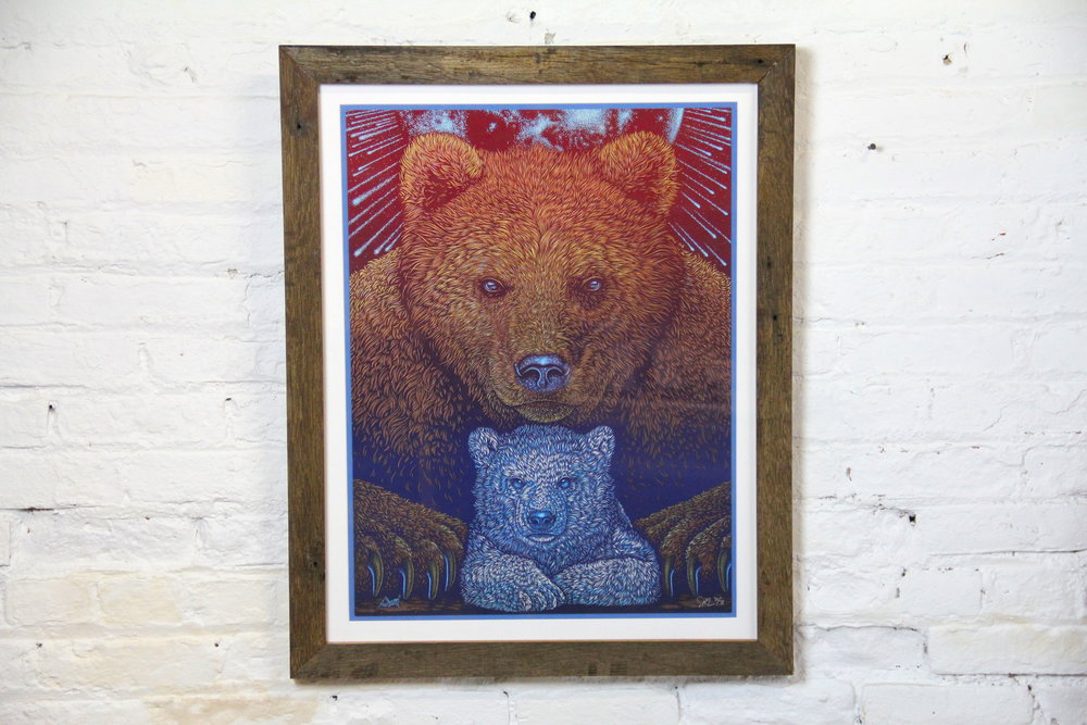 Grizzly Bears and a Barn Wood Frame