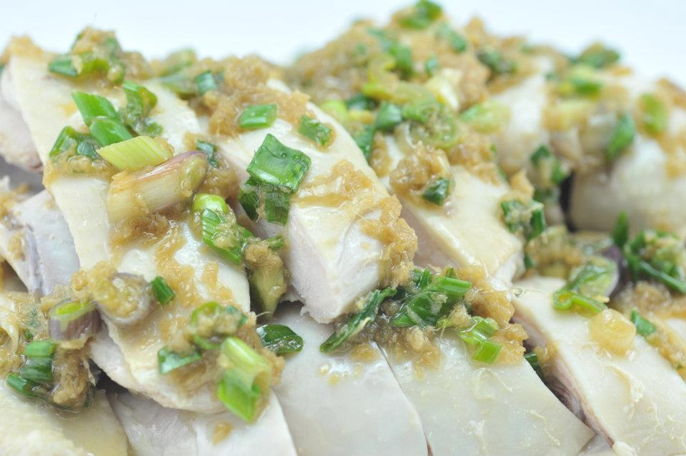 Steamed Chicken with Ginger and Spring Onions