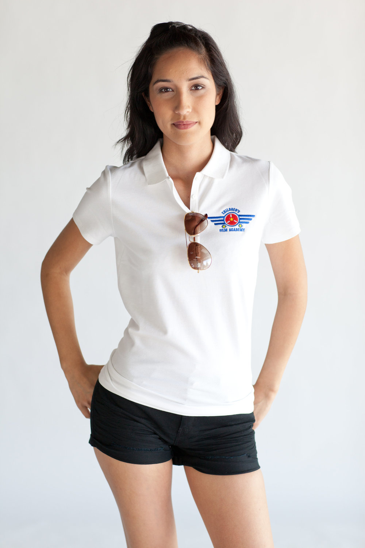 Woman's White Academy Polo $18