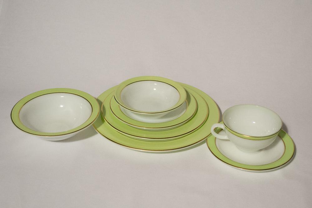 Pyrex - Rare 28 Piece Vintage Lime Green u0026 Gold Dinnerware u2014 UNDER GRANDMAu0027S STAIRS & Pyrex - Rare 28 Piece Vintage Lime Green u0026 Gold Dinnerware u2014 UNDER ...