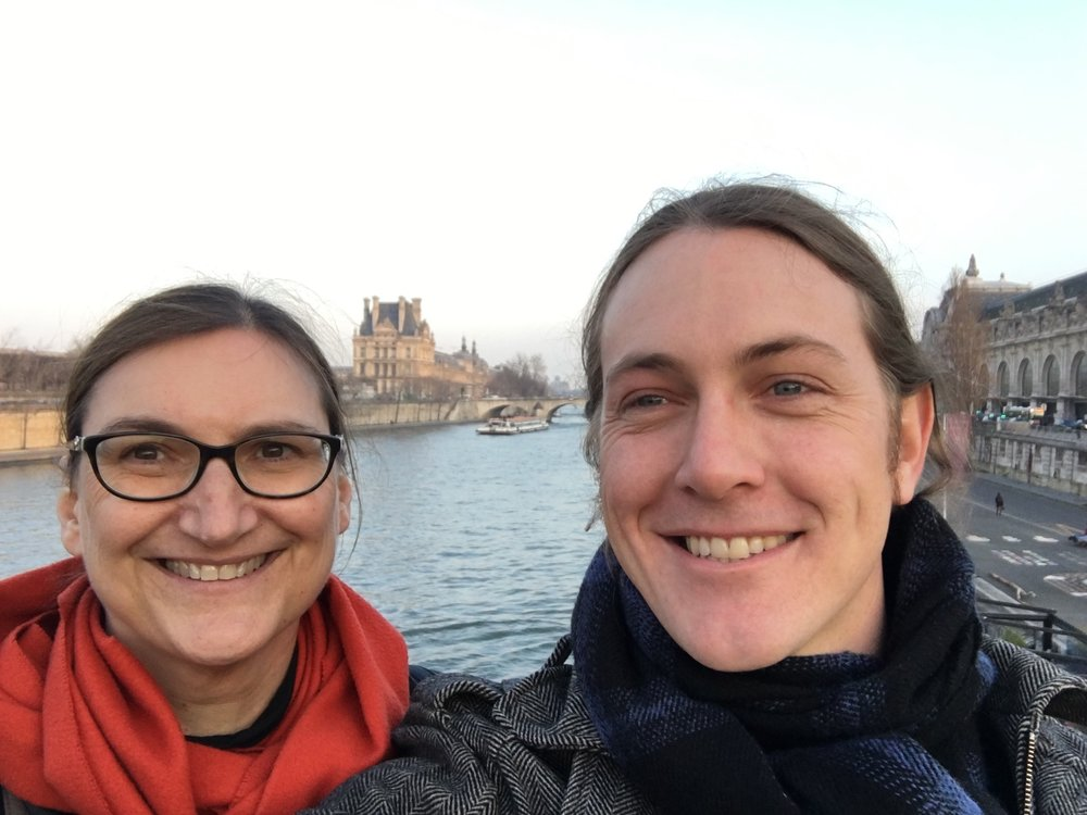 Selfie on the Seine in Paris. Picture taken February 2017 before the devastating floods of this past week.