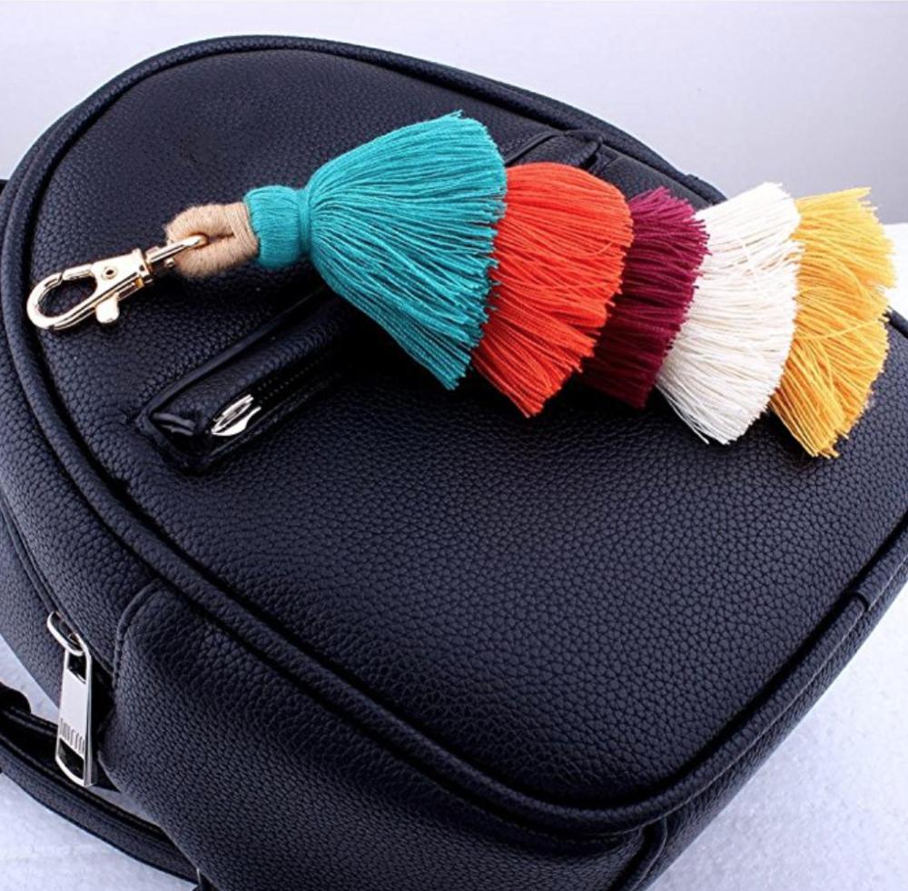 GreatFun Colorful Tassels Charm Car Keychain Handbag Bag Pendant Key Ring