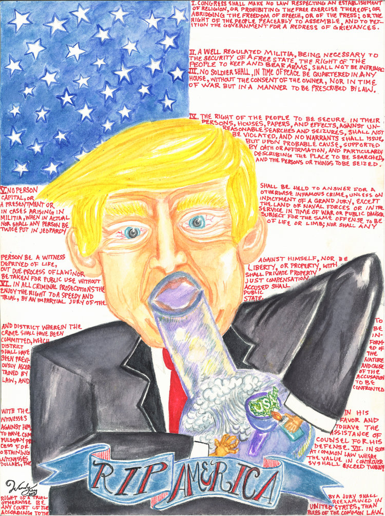 "Watercolor & ink on paper. ""RIP AMERICA"" is a portrait of present day American politics. The red stripes behinds the POTUS are actually the Bill of Rights and the man with the minute hands is taking a massive rip off of the USA."