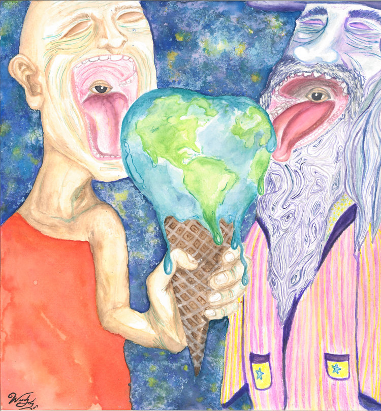 Watercolor on cold press paper. This colorful piece depicts two individuals in outer space eating a terrestrial treat that is quickly melting before their closed eyes.