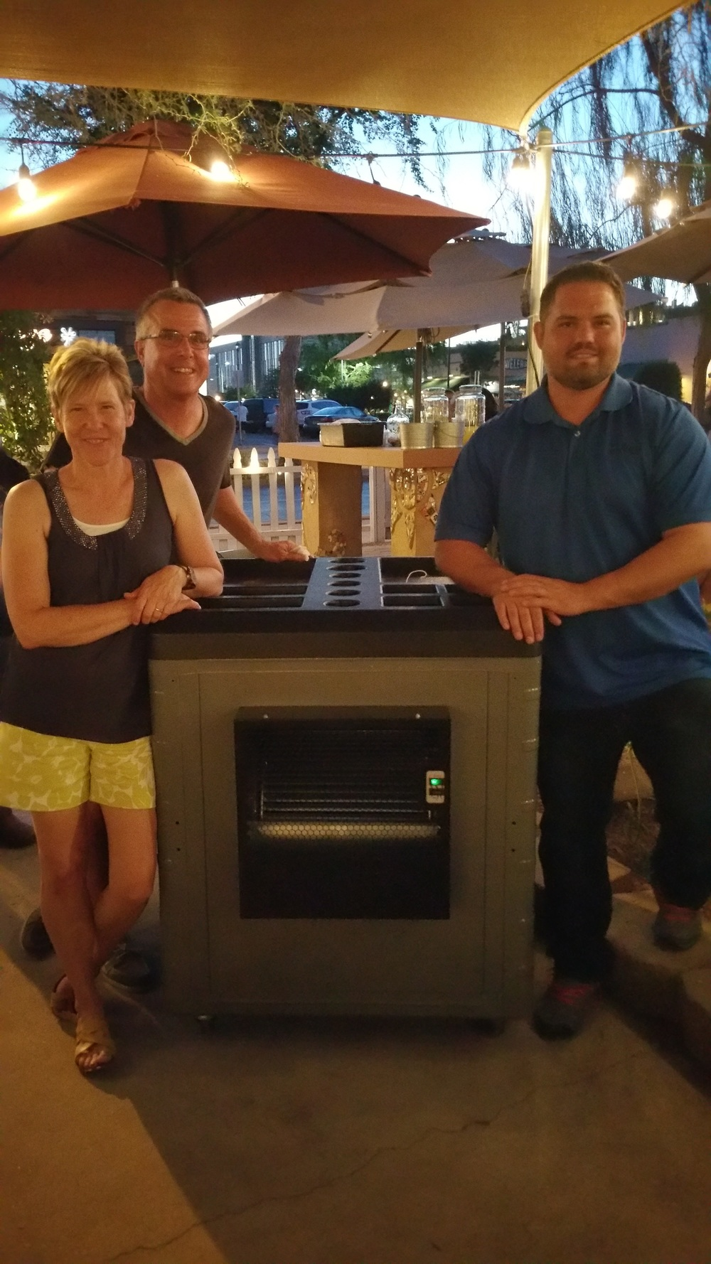 The owners of Bergies Coffee Roast House, Dave, and one of the coolers we donated from the event.