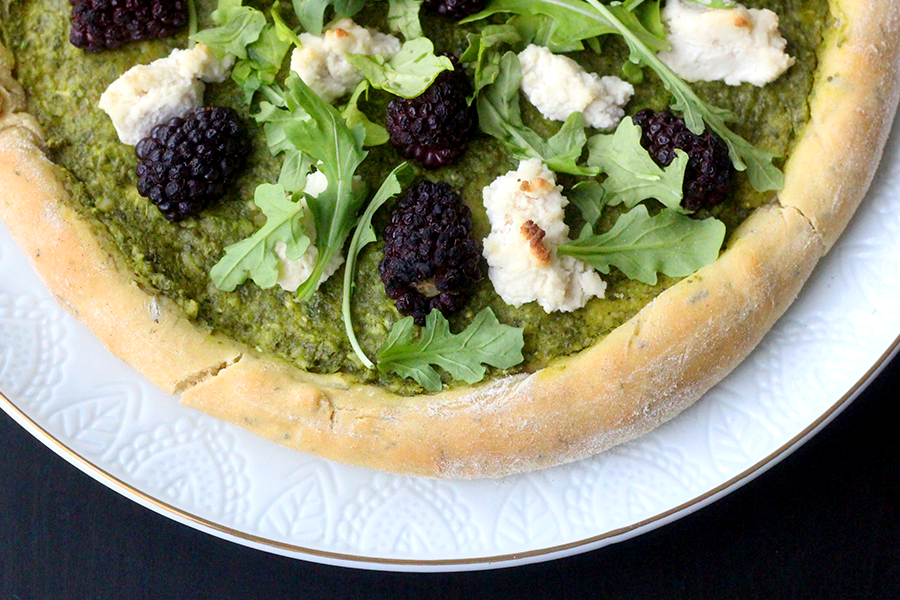 Blackberry and Arugula Pesto einkorn Pizza with vegan ricotta cheese