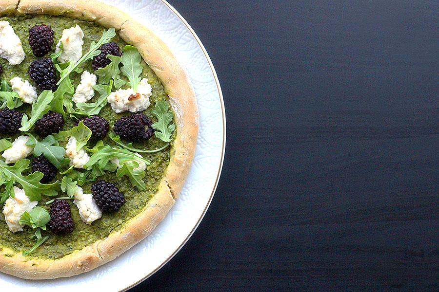Blackberry and Arugula Pesto Einkorn pizza With Vegan Ricotta Cheese