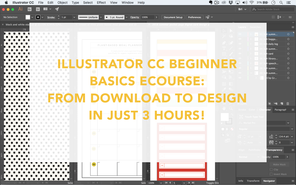 illustrator cc beginner basics online crash course. crown of lilies ecourse.