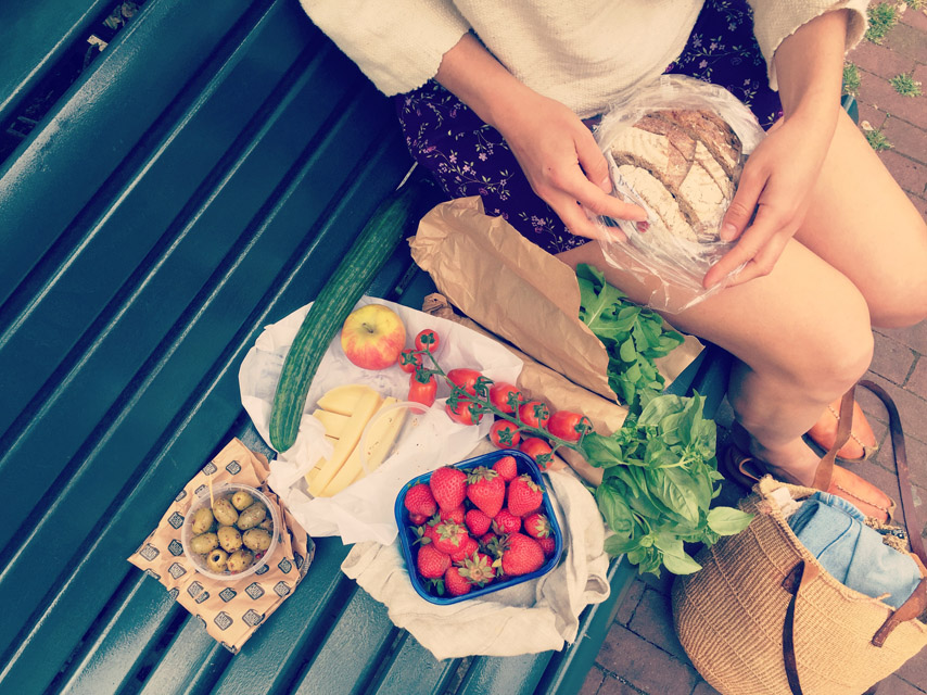 Farmer's market loot and a canal-side picnic with a good friend!