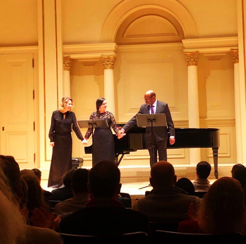 At Weill Recital Hall, February, 2019, with Taisiya Pushkar (L) and Kevin Deas (R)