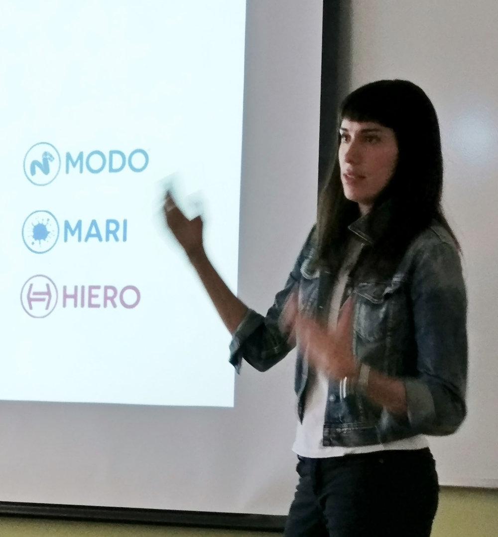 Here I am singing the praises of MODO to Humber Students