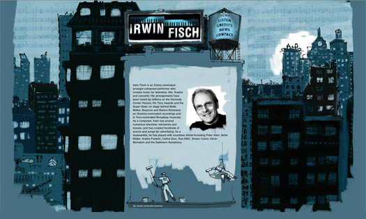 IRWIN FISCH, MUSICIAN / COMPOSER   (ILLUSTRATIONS, SITE DESIGN)