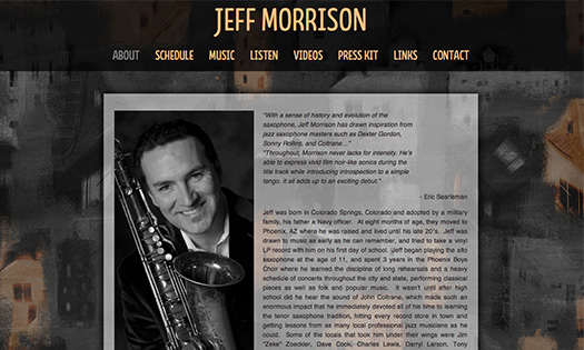 JEFF MORRISON, MUSICIAN  (BACKGROUND PAINTING, SITE DESIGN)
