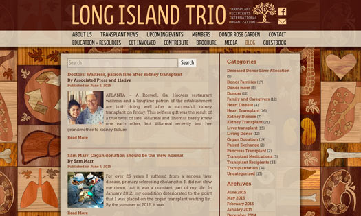 LONG ISLAND TRIO, ORGAN DONOR FOUNDATION  (BACKGROUND WOODCUT, DESIGN)