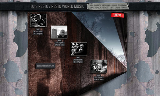 LUIS RESTO, MUSICIAN  (COLLAGE, SITE DESIGN)