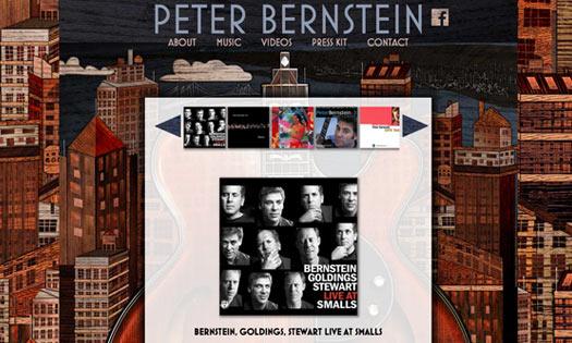 PETER BERNSTEIN, MUSICIAN (BACKGROUND WOODCUT, SITE DESIGN)