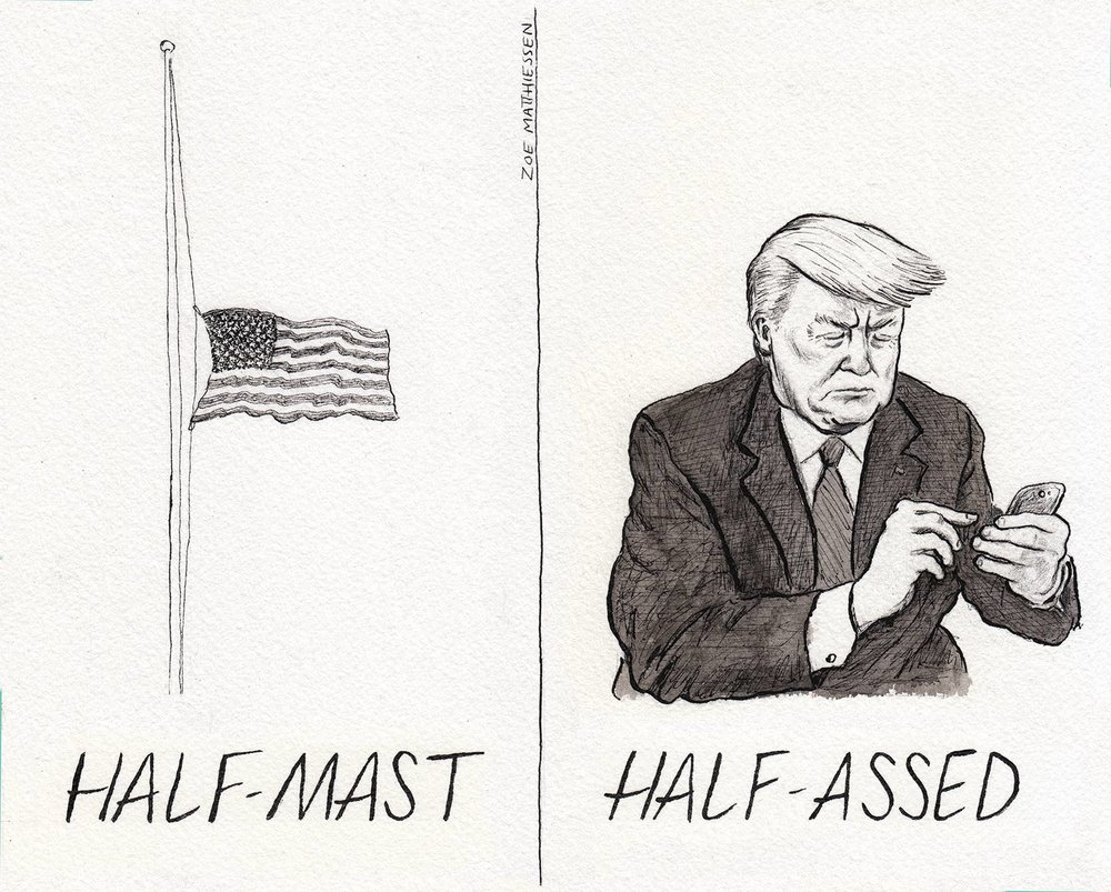 Half-mast, The American Bystander
