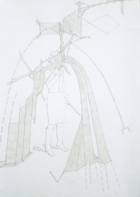 Machine à sense I.  Pencil on paper.  Din A4.  2013 copy 2.jpg