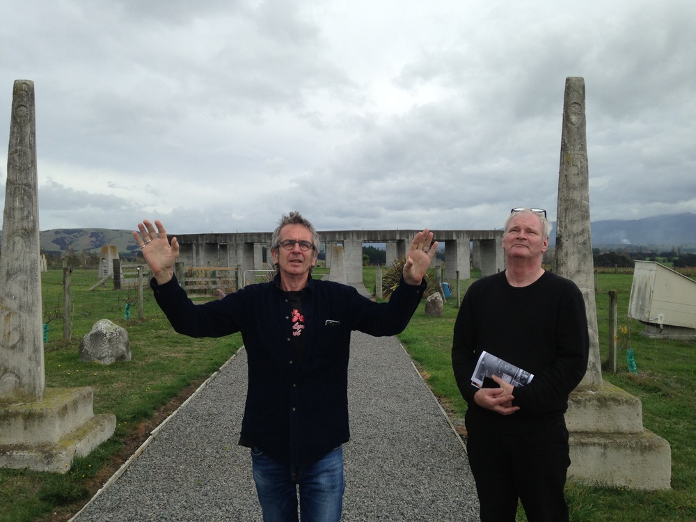 Colin and Roger celebrate Winter Solstice at Stonehenge Aotearoa In the Wairarapa New Zealand 21 June 2016