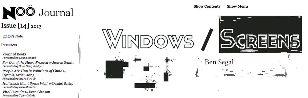 Window/Screens  on Noö Journal