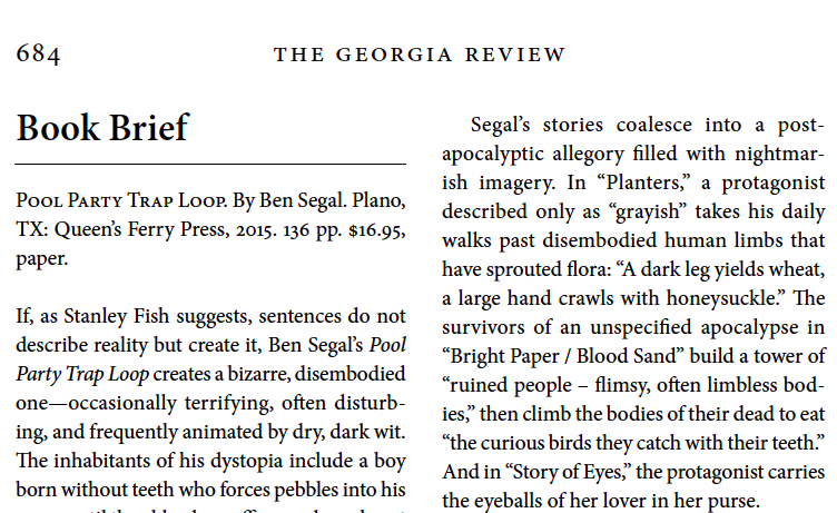 Georgia Review  book brief  of Pool Party Trap Loop
